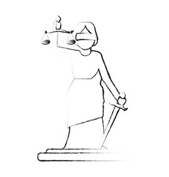 Blurred silhouette goddess of justice symbol vector