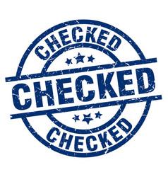 Checked blue round grunge stamp vector