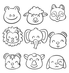 Collection stock cute animal doodles vector