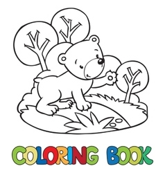 Coloring book of little funny bear vector