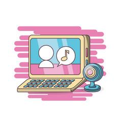 computer webcam chatting design vector image