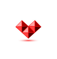 Crystal red ruby heart logo in gemstone faceted vector