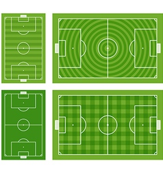 Different green football fields set vector