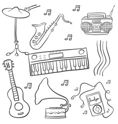 Doodle of music various object vector