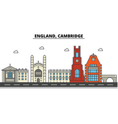 england cambridge city skyline architecture vector image