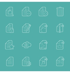 Files and documents thin lines icons set vector image