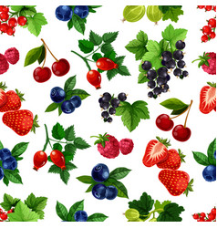 Forest berries and fruits seamless pattern vector