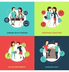 Friends concept icons set vector