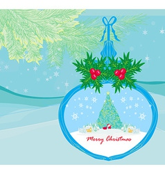 Funny santa claus in transparent ball hanging on vector