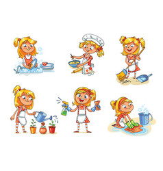 House cleaning girl is busy at home vector