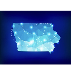 Iowa state map polygonal with spotlights places vector