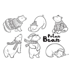 outline set with polar bears vector image