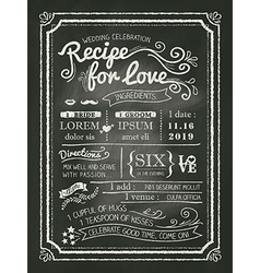 Recipe chalkboard Wedding Invitation background vector image vector image