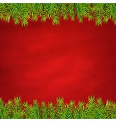Retro red background and fir tree borders vector