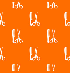 Scissors and comb pattern seamless vector