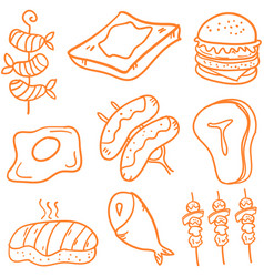 Set of fast food doodles vector