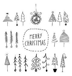 Set of hand drawn Christmas trees vector image vector image