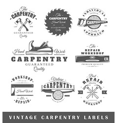 Set of vintage labels carpentry vector image