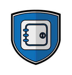 Shield insurance with safe box isolated icon vector