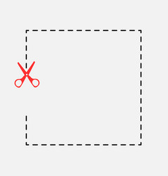 stationery red scissors cut icon vector image vector image