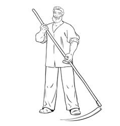 Strong man mows the grass vector