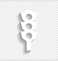 Traffic light sign white icon with soft vector