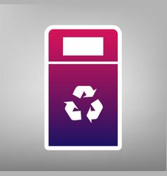 Trashcan sign purple vector