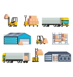 Warehouse logistics elements set vector