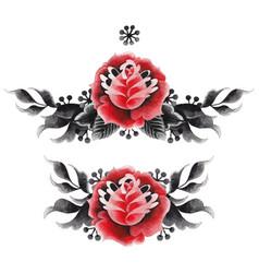 watercolor floral vignette vector image vector image