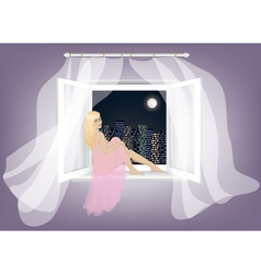 woman sitting on the window vector image vector image