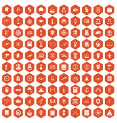 100 history icons hexagon orange vector