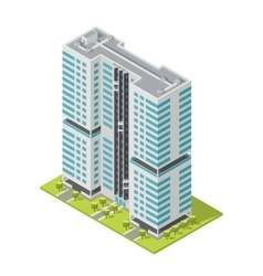 Realistic office building isometric skyscraper vector
