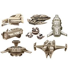 Different designs of spaceships vector image