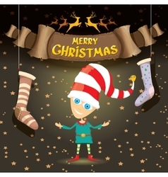 Cartoon cute merry christmas elf vector