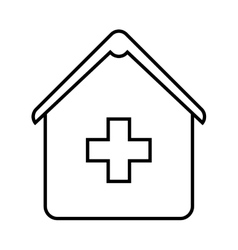 Hospital silhouette isolated icon vector