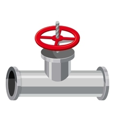 Pipe with a valve icon cartoon style vector