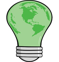 Cartoon lightbulb earth vector image