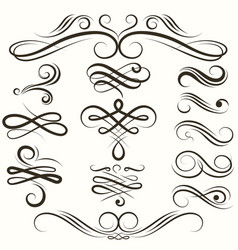 Vintage flourish swirls collection vector