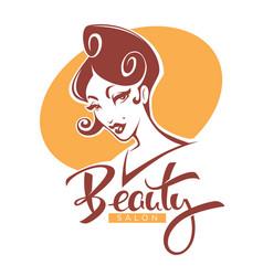 Retro beauty lady portrait for your beauty vector