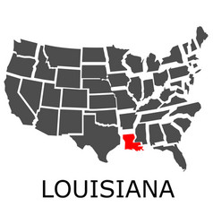 State of louisiana on map of usa vector
