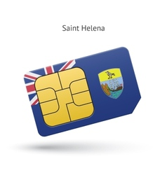 Saint helena mobile phone sim card with flag vector