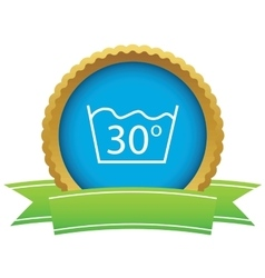 30 degrees wash certificate icon vector