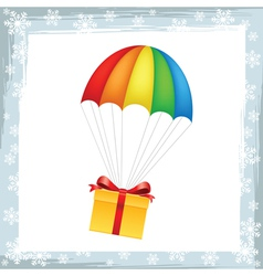 Gift on parachute icon vector