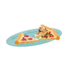Pizza slices on a plate vector