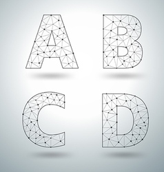 Mesh stylish alphabet letters vector