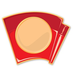 Porcelain enamel red flag vector