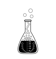 Conical graduated chemical flask with a solution vector