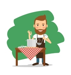 Man cooking at home vector image
