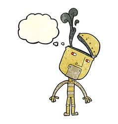 Cartoon robot with open head with thought bubble vector