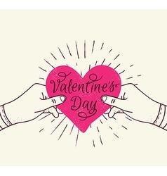 Pink heart in hands vector image